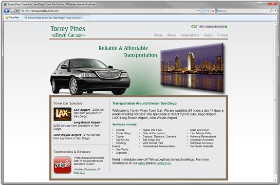 Torrey Pines Town Car Website